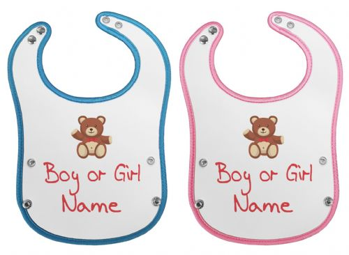 Personalised Name With Bear Waterproof Neoprene Baby Pocket Bib w/Buttons